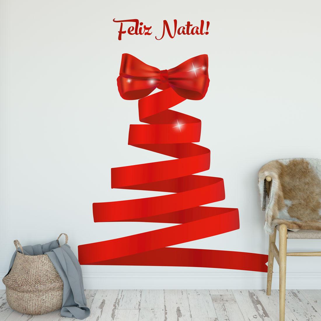 Adesivo de Parede Árvore de Natal Fita Vermelha