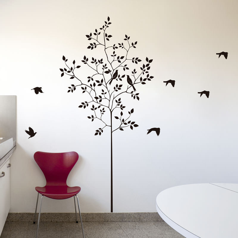 Artesanato Mobile Infantil Passo A Passo ~ Adesivo de ParedeÁrvore e Pássaros bemColar Adesivos De Parede