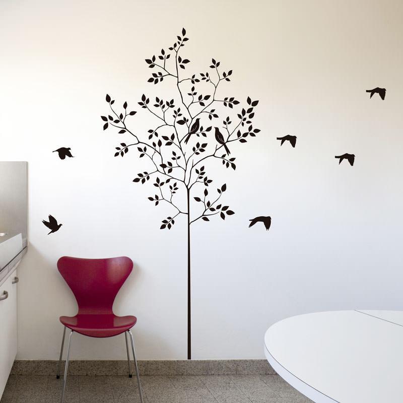 Artesanato Lata De Leite Passo A Passo ~ Adesivo de ParedeÁrvore e Pássaros bemColar Adesivos De Parede