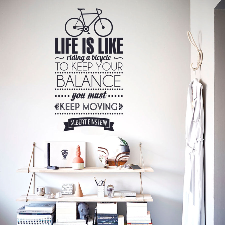 """Adesivo de Parede """"Life is Like Riding a Bicycle...."""""""