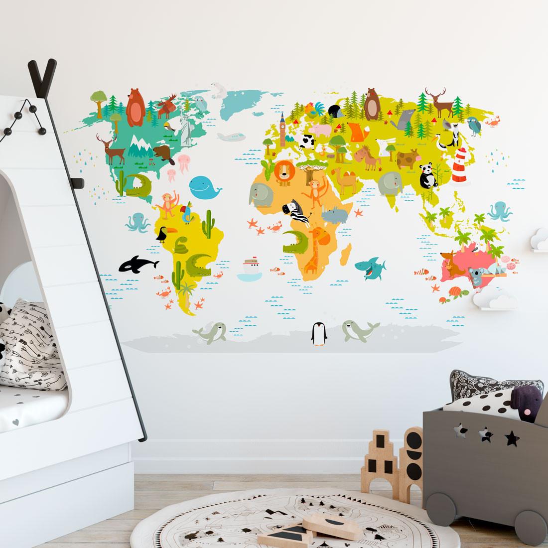 Adesivo de Parede Infantil Mapa Mundi