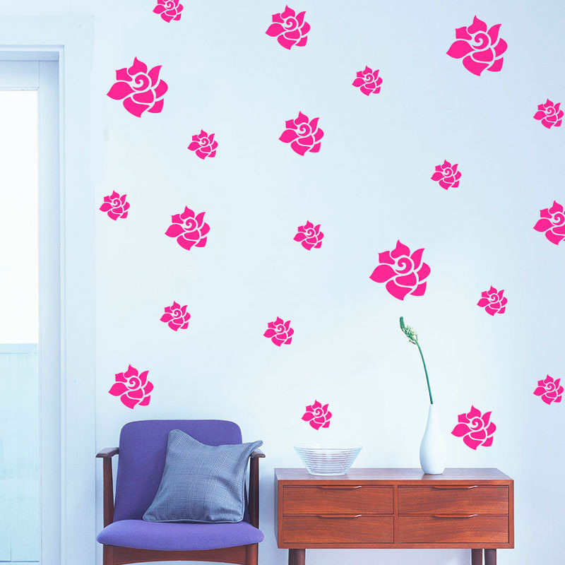Adesivo Decorativo Kit de Flores Rosa