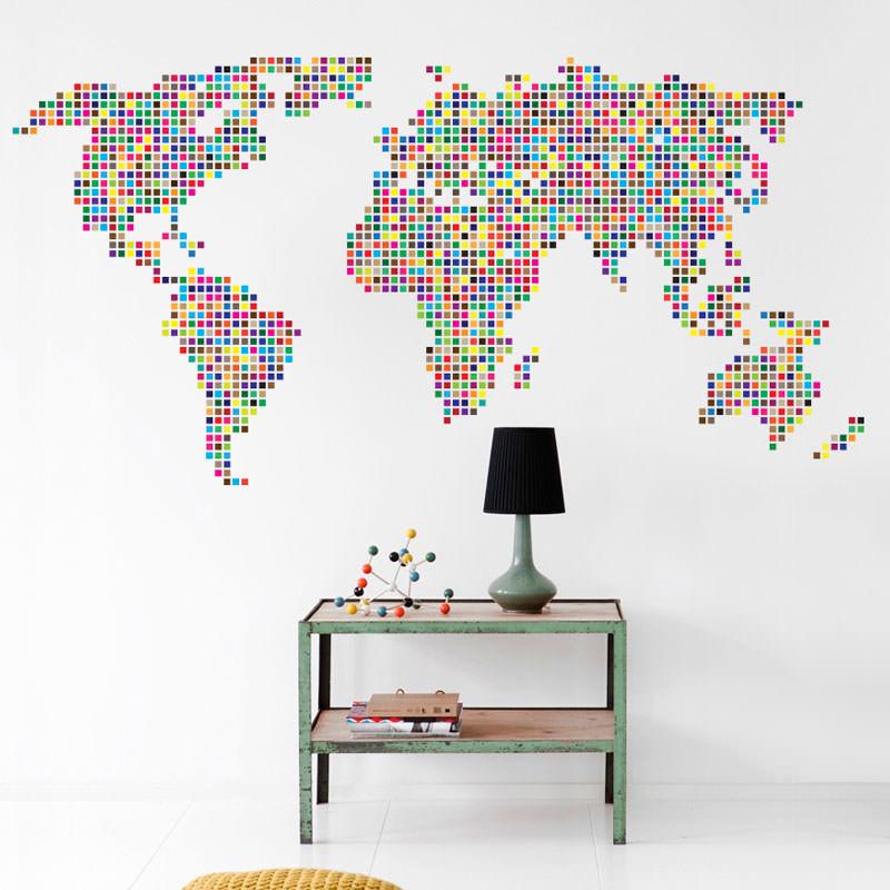 Adesivo De Parede Bailarina Mercado Livre ~ Adesivo de Parede Mapa Mundi Ladrilhado bemColar Adesivos De Parede