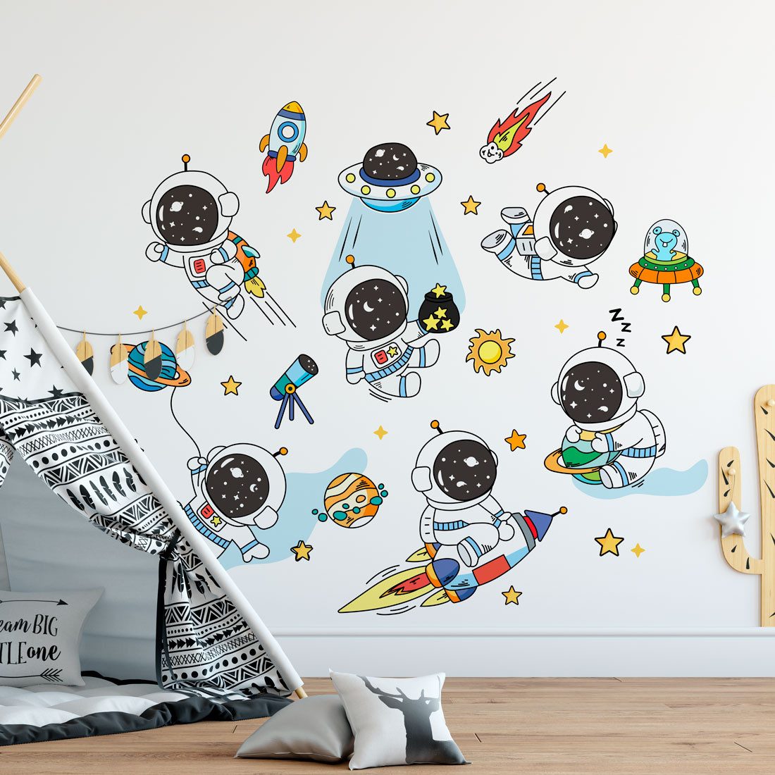 Adesivo de Parede Infantil Astronautas