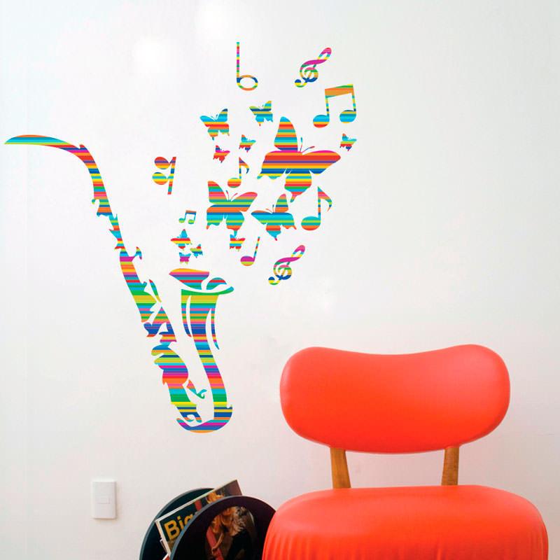 Adesivo de Parede Saxofone Colorido