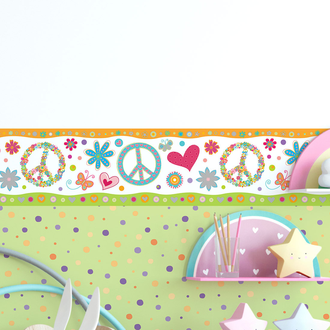 Faixa Decorativa Infantil Peace And Love - Has#Tag - Rolo com 5 Metros