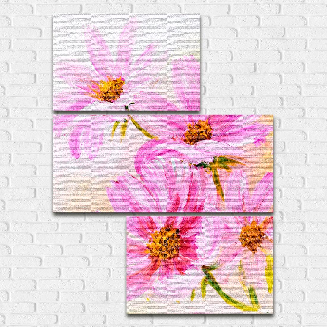 Conjunto de Quadros Decorativos Assimétrico Flores Silvestres - Em Canvas