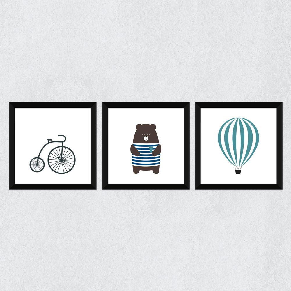 """Conjunto de Quadrinhos Decorativos """"Ursinho, Balão e Bicicleta"""""""