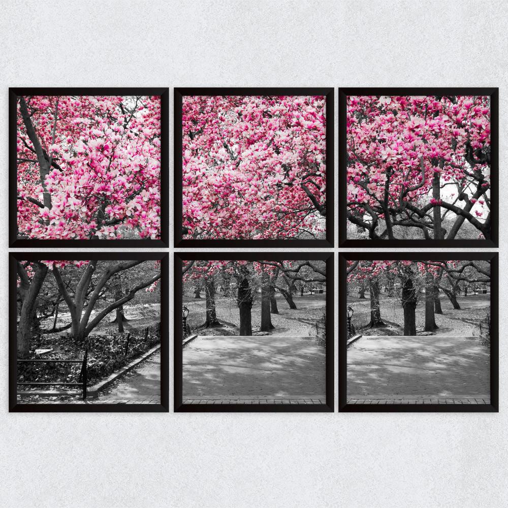 Conjunto de Quadros Decorativos Árvores Rosa