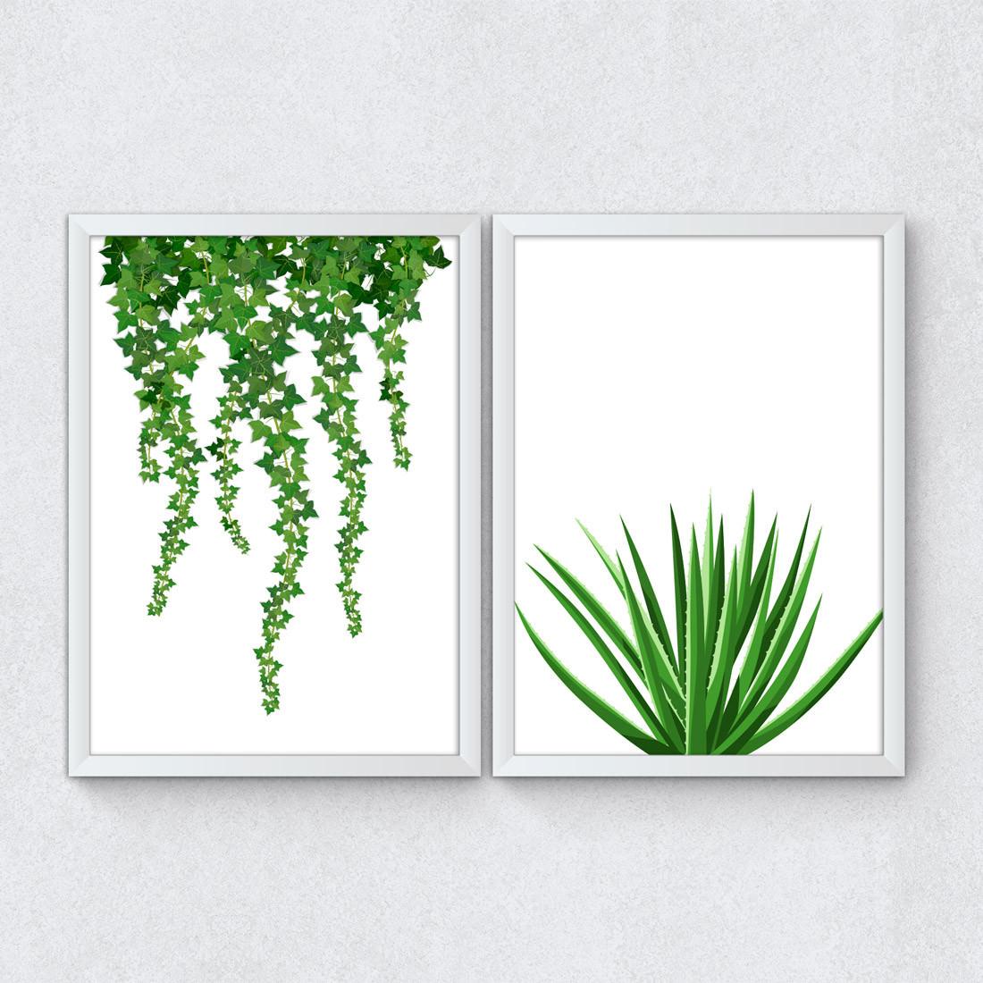 Conjunto de Quadros Decorativos Plantas Opostas