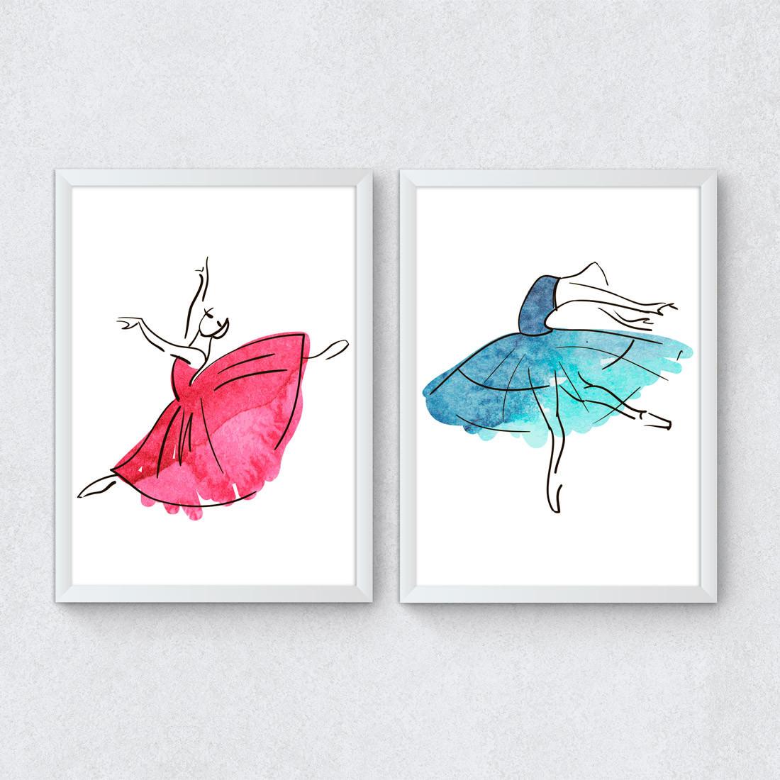 Conjunto de Quadros Decorativos Bailarinas Ballet