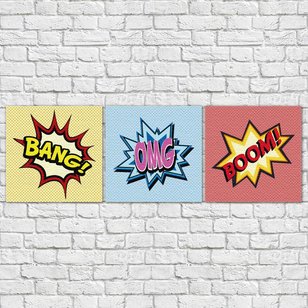 Conjunto de Quadros Decorativos Bang Boom OMG