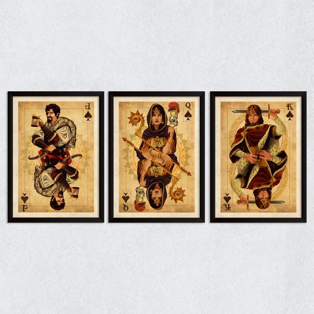 Conjunto de Quadros Decorativos Valete, Dama e Rei de Espadas