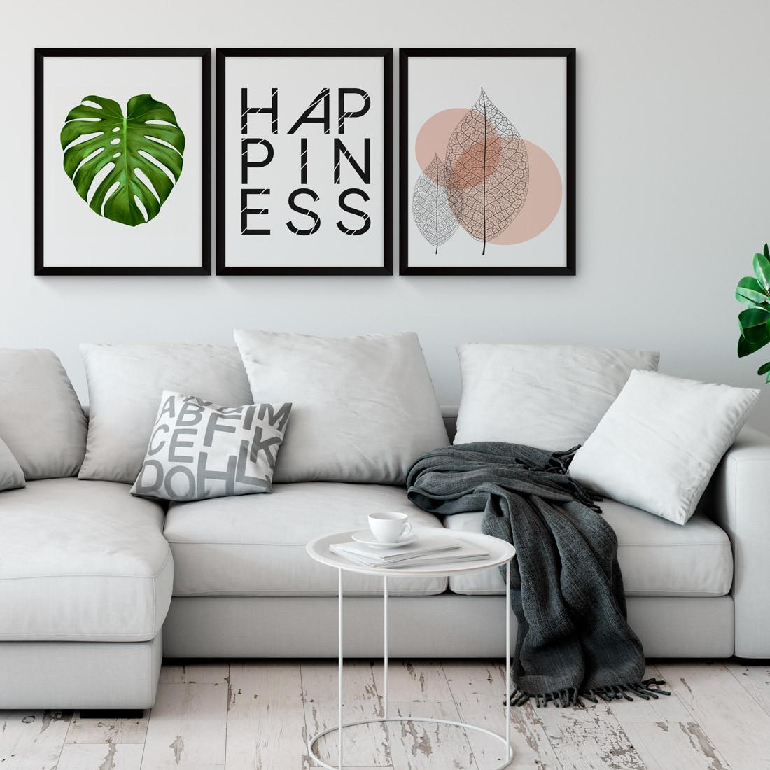 Conjunto de Quadros Decorativos Happiness