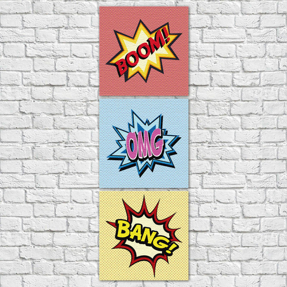 Conjunto de Quadros Decorativos Bang Boom OMG Vertical