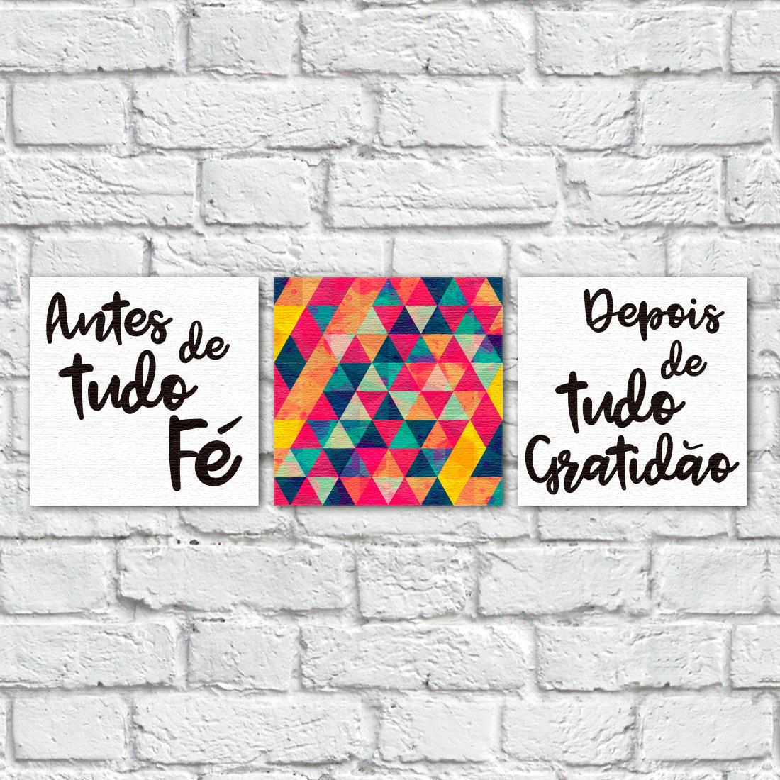 """Conjunto de Quadros Decorativos """"Antes Fé, Depois Gratidão"""" - Em Canvas"""