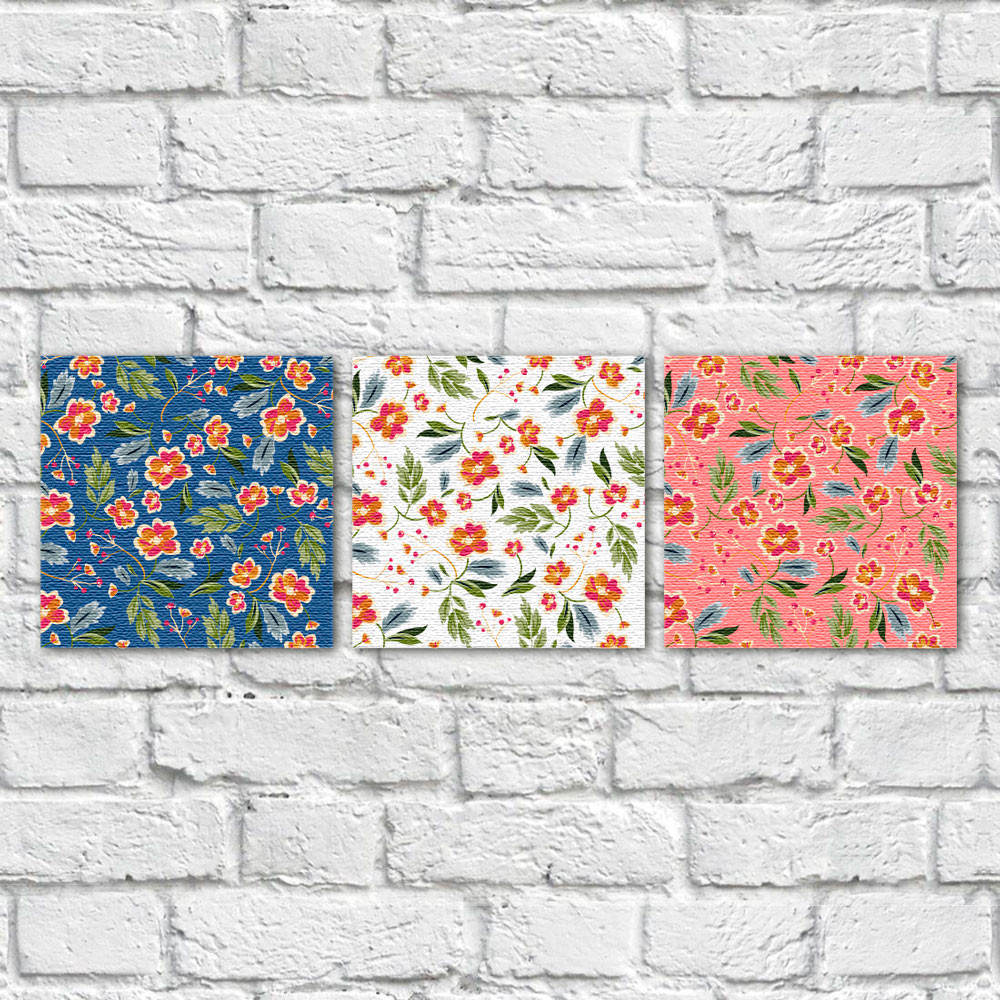 Conjunto de Quadros Decorativos Estampa Floral Fundos Coloridos