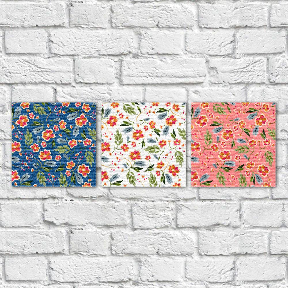 Conjunto de Quadros Decorativos Estampa Floral Fundos Coloridos - Em Canvas