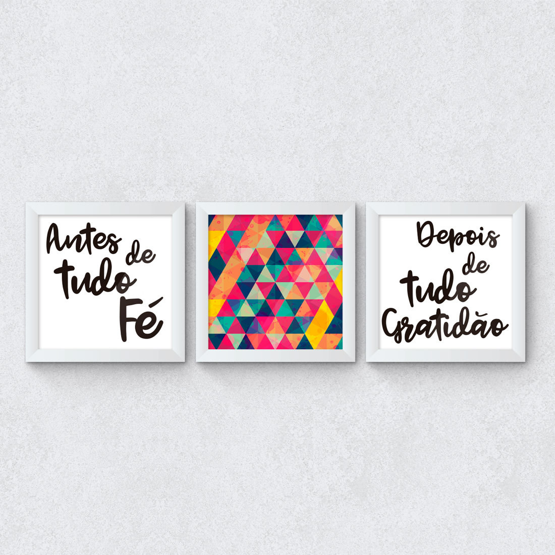 """Conjunto de Quadros Decorativos """"Antes Fé, Depois Gratidão"""""""