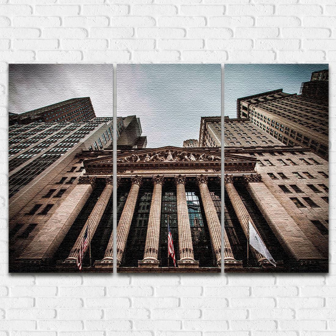 Conjunto de Quadros Decorativos Bolsa de Valores NY - Em Canvas