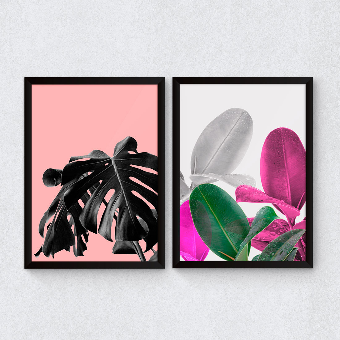Conjunto de Quadros Decorativos Tropical Rosa