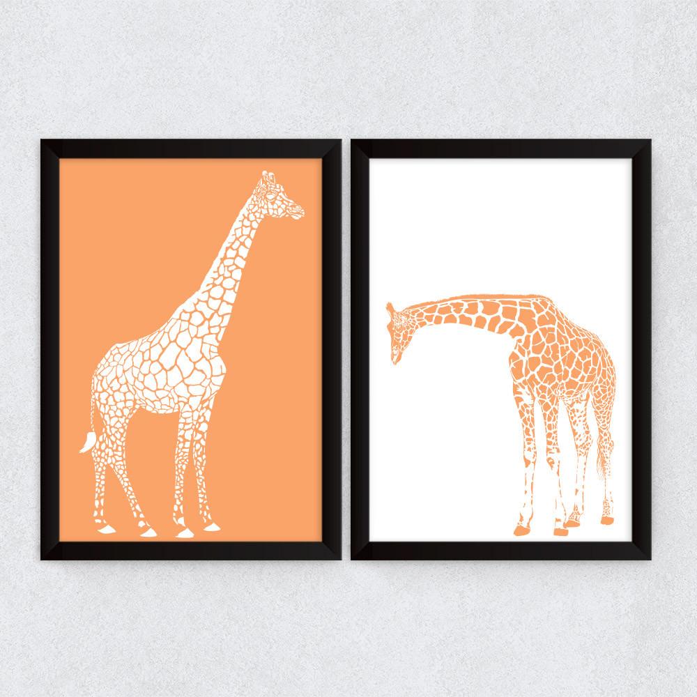 Conjunto de Quadros Decorativos Girafas Laranja