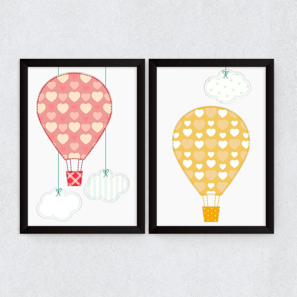 Conjunto de Quadros Decorativos Infantil Balões e Nuvens