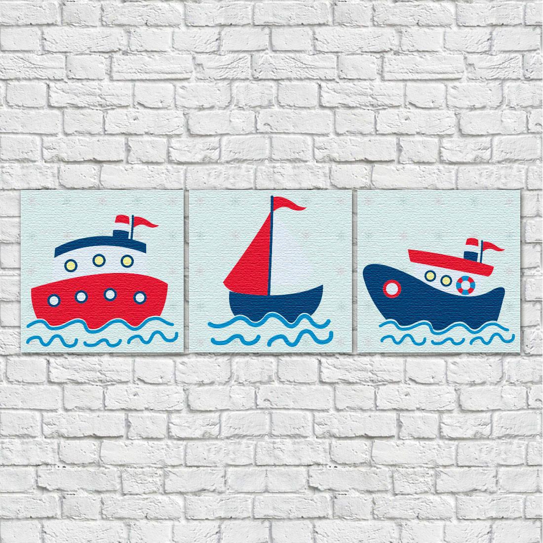 Conjunto de Quadros Decorativos Infantil Barcos Marinheiros