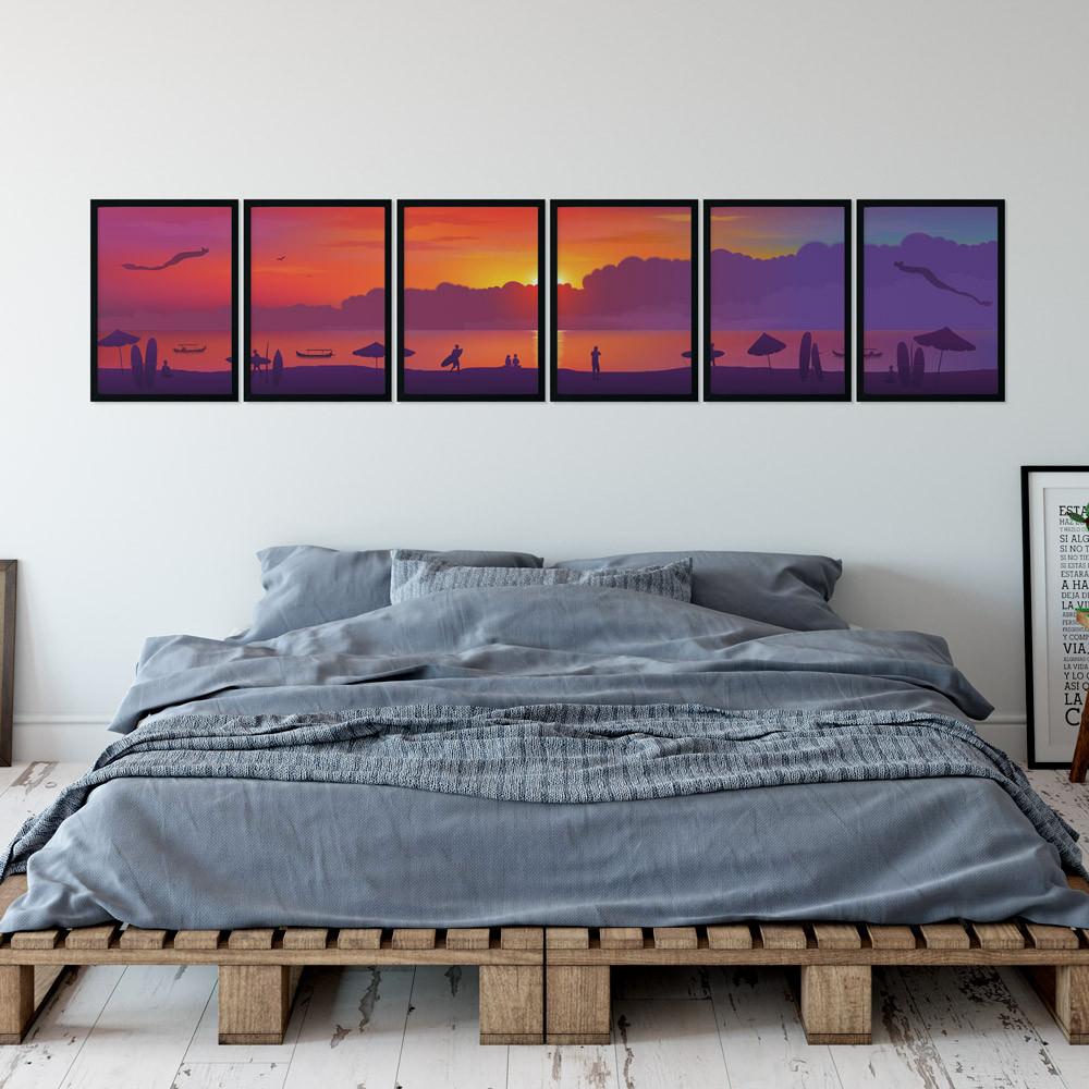 Conjunto de Quadros Decorativos Praia Por do Sol