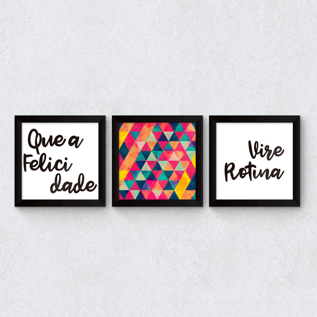 "Conjunto de Quadros Decorativos ""Que a felicidade vire rotina"""