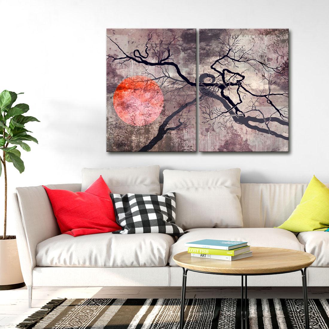 Quadro Decorativo Sol Vermelho e galhos secos