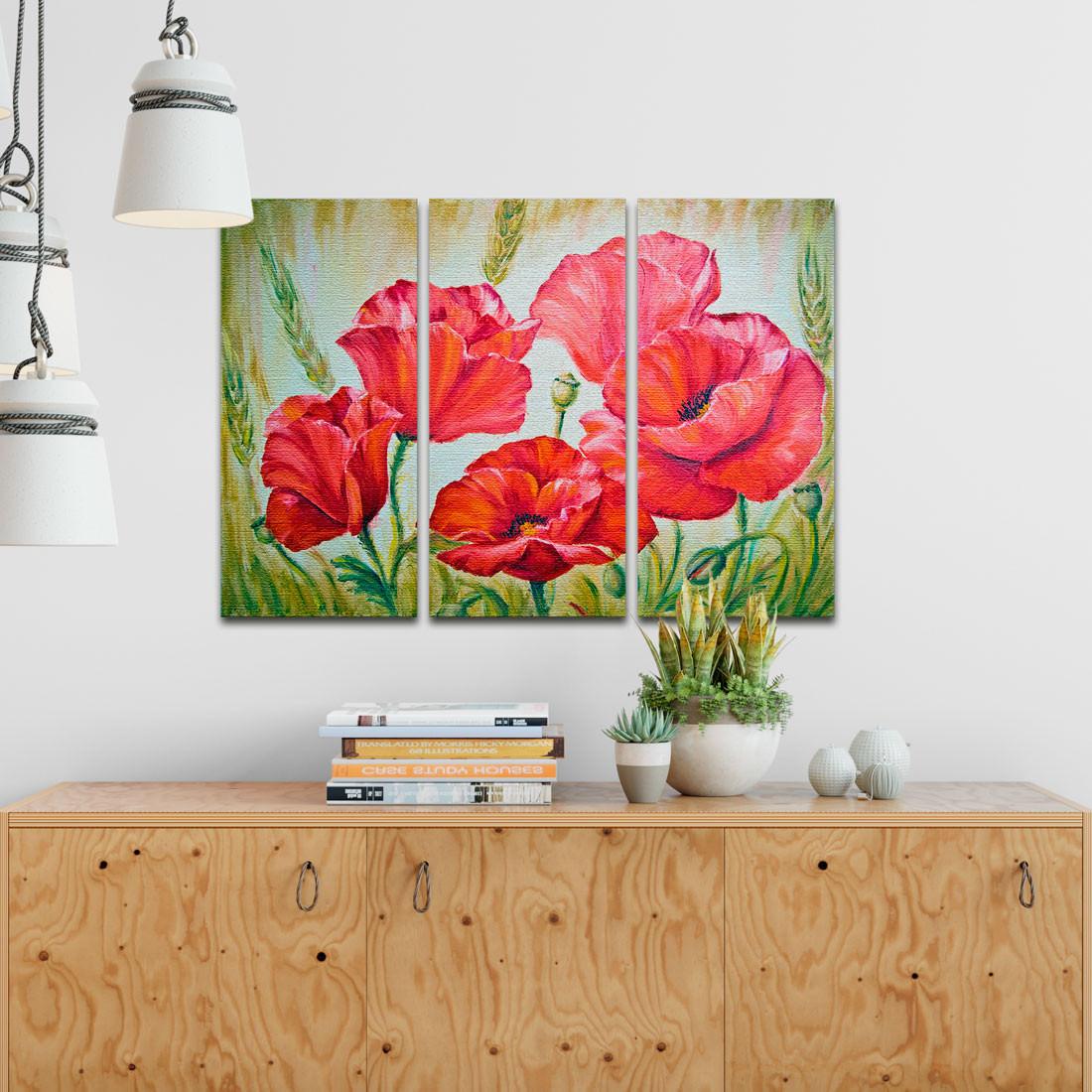 Conjunto de Quadros Decorativos Papoulas - Em Canvas