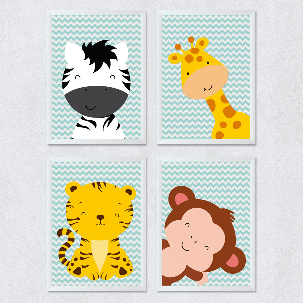 Conjuntos de Quadros Infantis Safari