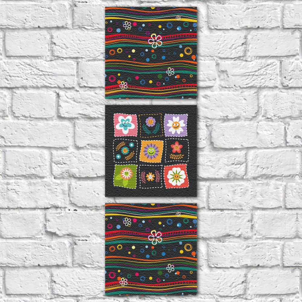 Conjunto de Quadros Decorativos Flores Infantis e Ondas Vertical