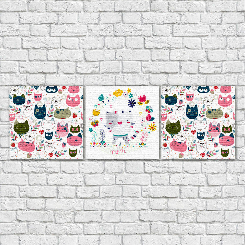 Conjunto de Quadros Decorativos Infantil Gatos - Em Canvas