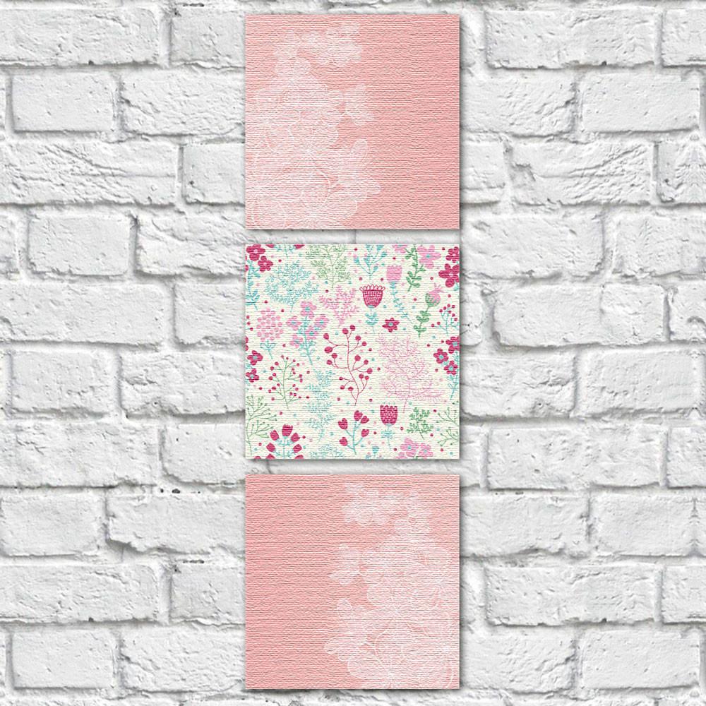 Conjunto de Quadros Decorativos Galho de Flores e Estampa Floral