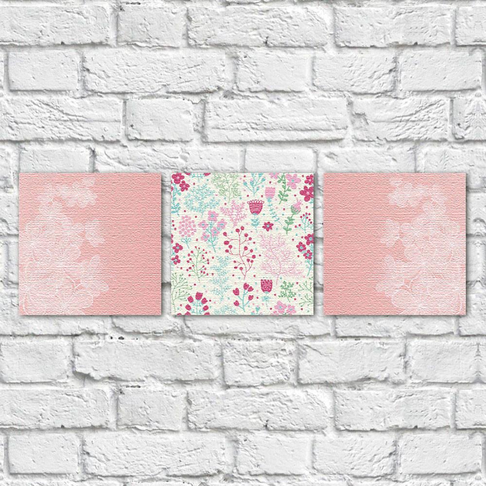 Conjunto de Quadros Decorativos Galho de Flores e Estampa Floral - Em Canvas