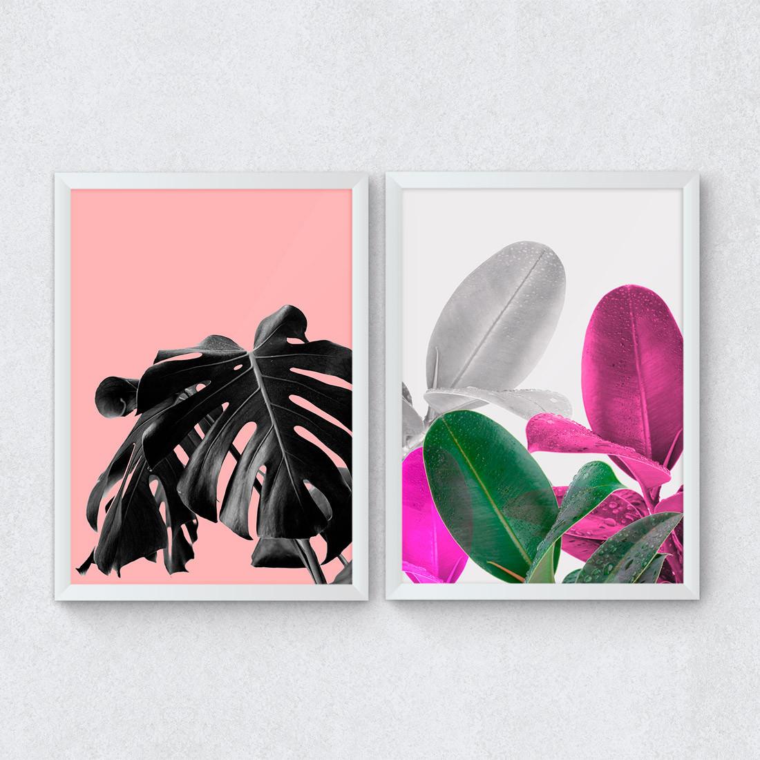 Conjunto de Quadros Decorativos Tropical Fundo Rosa