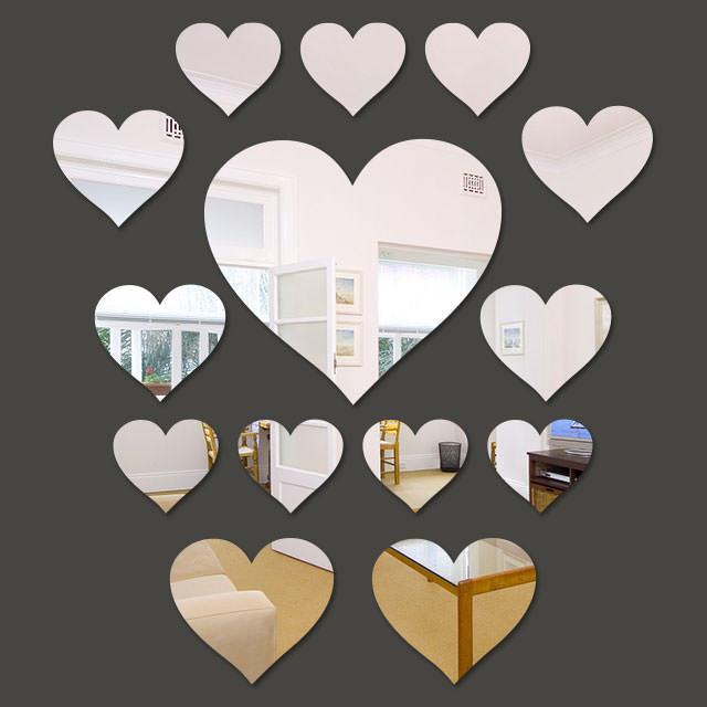 Espelho Decorativo Mini Corações - 14 Peças - 2