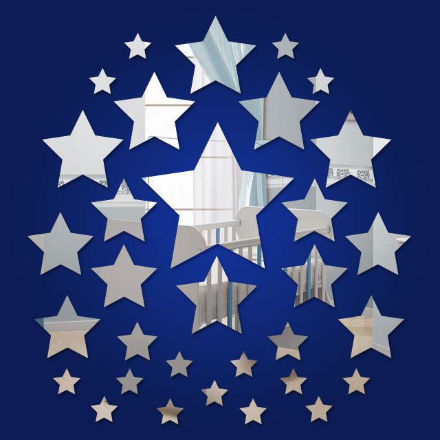 Espelho Decorativo Mini Estrelas - 32 Peças