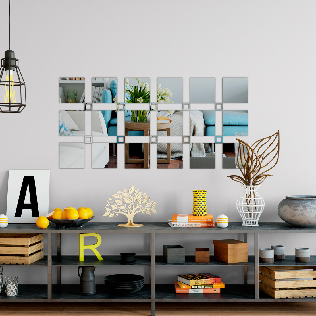 Espelho Decorativo Quadrados Cheios e Vazados Personalizável II