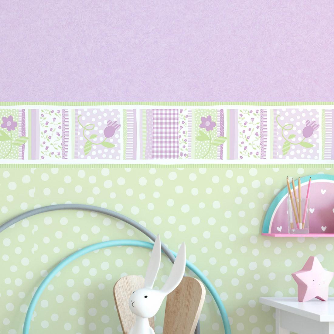 Faixa Decorativa Infantil Floral Delicado - Lilás - Nido