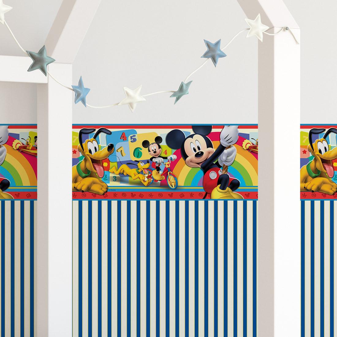 Faixa Decorativa Infantil Mickey Mouse e Pluto - Disney - Rolo com 5 Metros