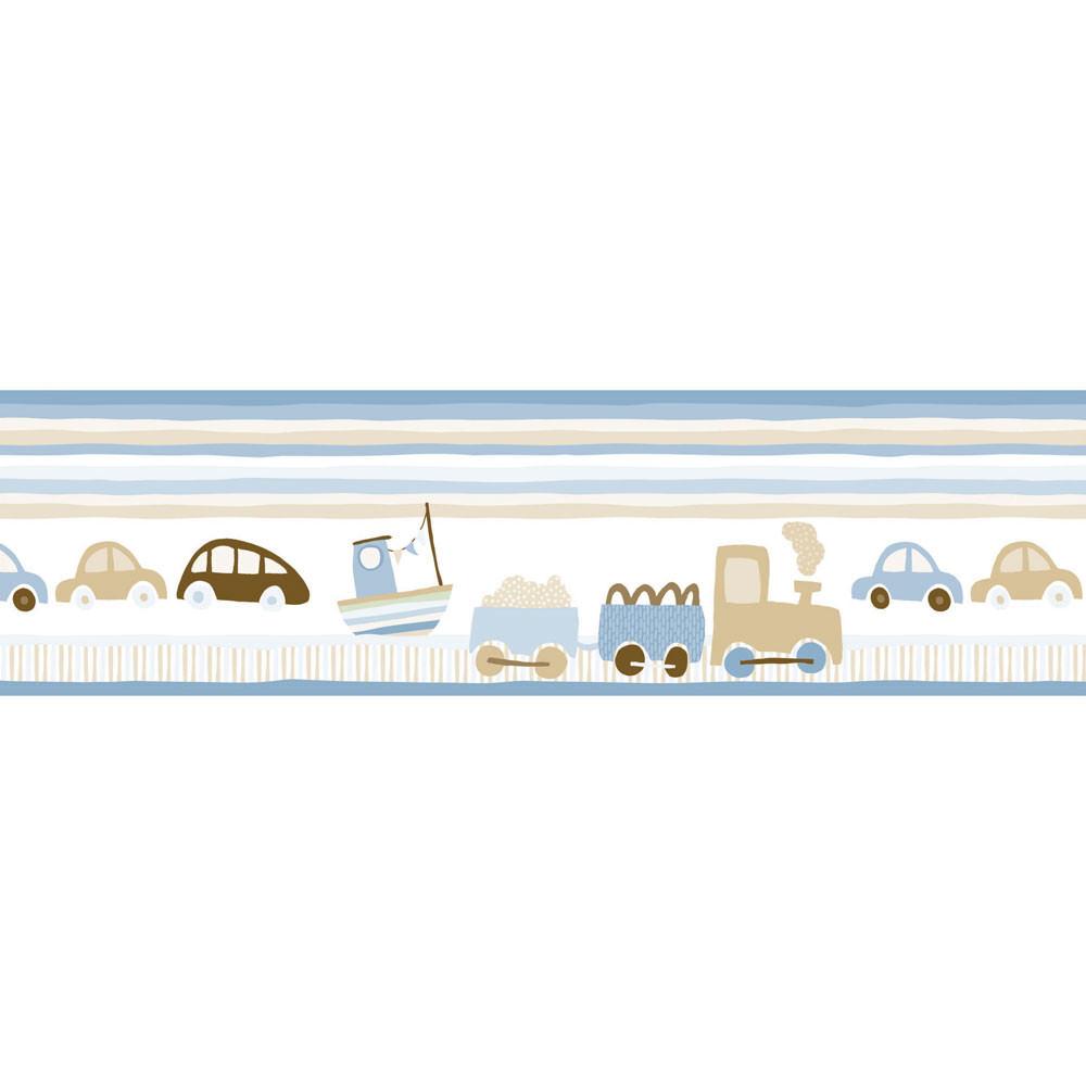 Faixa Decorativa Infantil Trenzinho e Carros - Azul - Nido