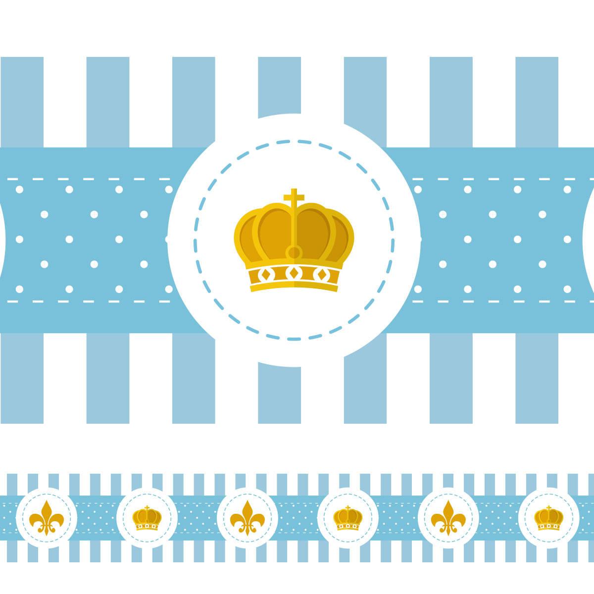 Faixa Decorativa Coroa e Flor de Lis - Azul