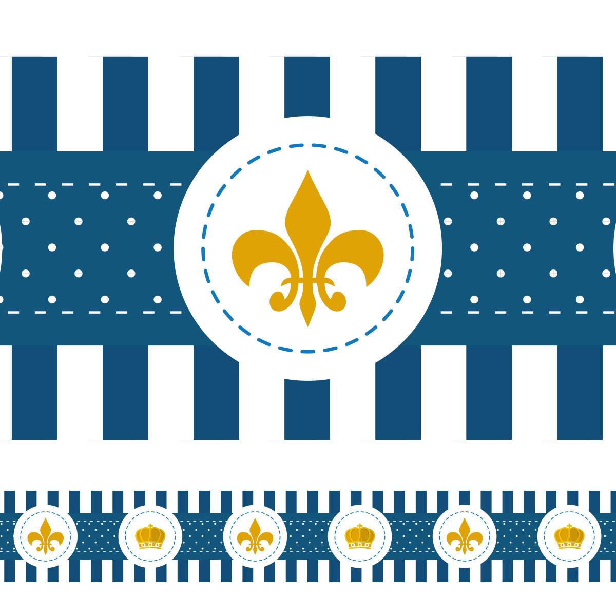 Faixa Decorativa Coroa e Flor de Lis - Azul Marinho