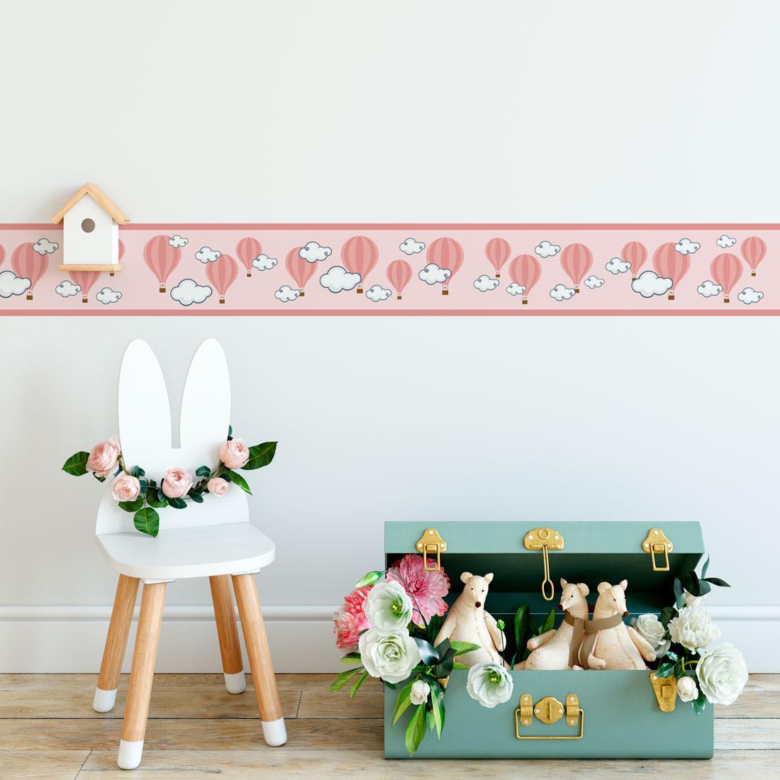 Faixa Decorativa Balões Nuvens - Rosa