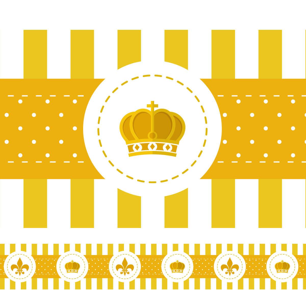 Faixa Decorativa Coroa e Flor de Lis - (Amarela)