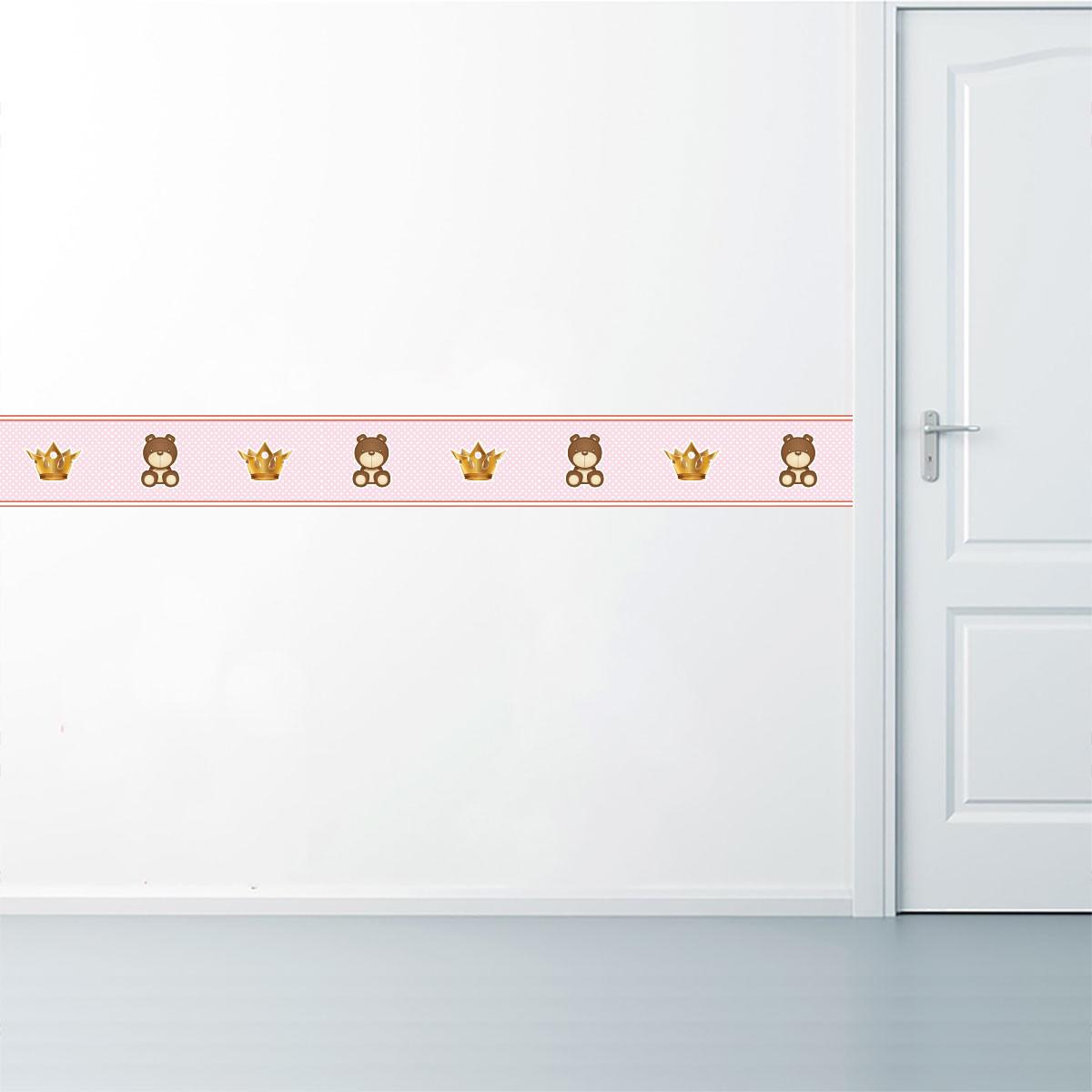Faixa Decorativa Ursinho e Coroa - Rosa