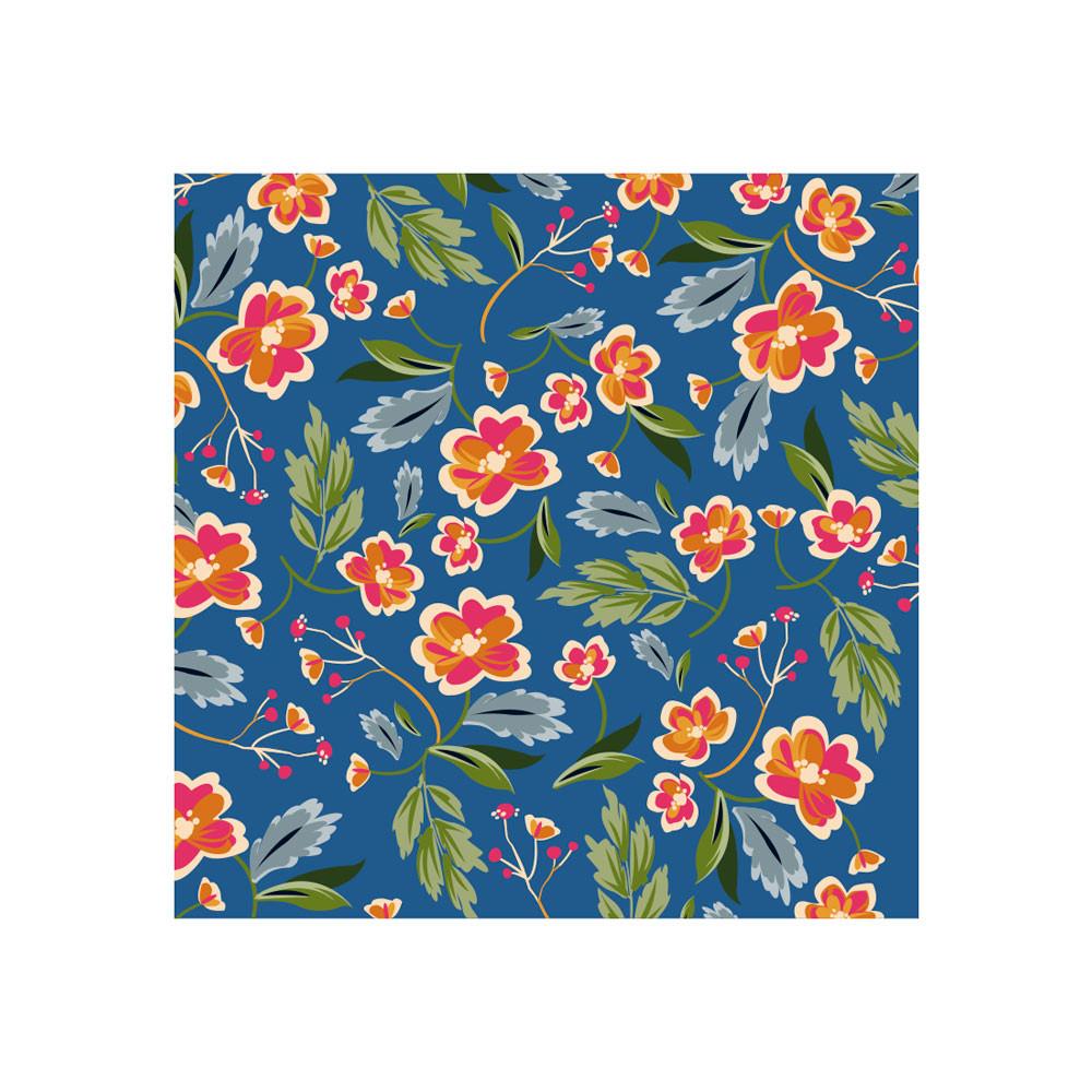 Poster Decorativo Estampa Floral Fundo Azul
